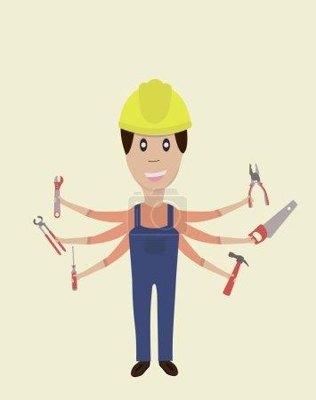 Arbeit mit Werkzeugen seine Hände