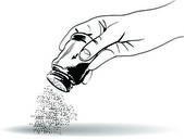hand with salt shaker
