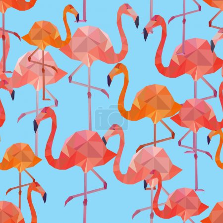 Illustration for Vector seamless pattern background with pink polygonal flamingos on blue background. - Royalty Free Image