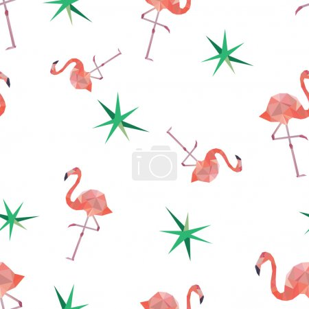 Seamless pattern background with pink polygonal flamingos.