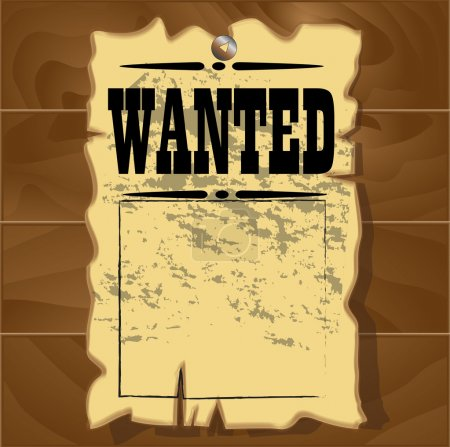 A old wanted posters on a wooden background