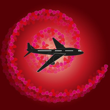 Illustration for Silhouette of an airplane and falling petals of roses - Royalty Free Image