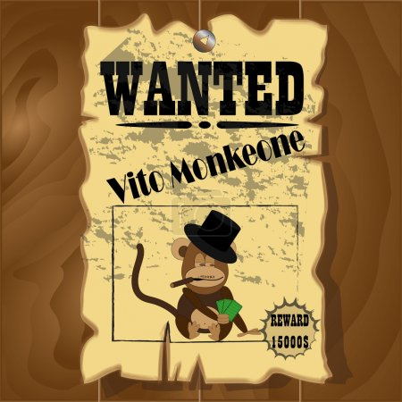 Old wanted poster with a picture of the monkey