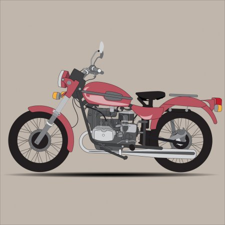 The red retro motorcycle