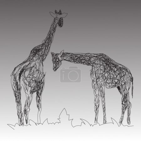 the image of two giraffes in the style of hand drawn