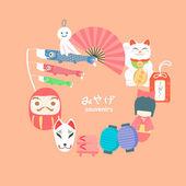 Japan travel souvenirs element