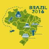 Brazil map with 2016 text great for your design