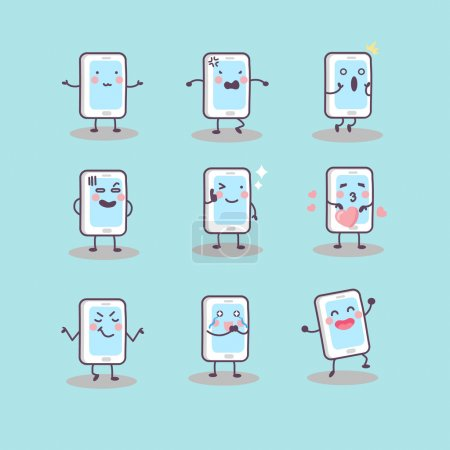 cute cartoon smart phone