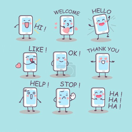 Illustration for All kinds of smartphone emotion, great for technology concept design - Royalty Free Image