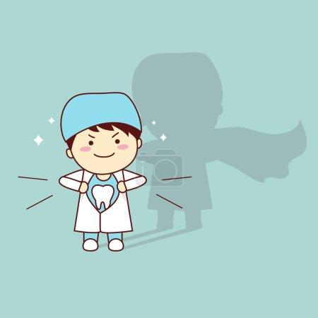 Illustration pour Super santé dessin animé dentiste dentiste médecin, idéal pour la santé dentaire concept de soins - image libre de droit