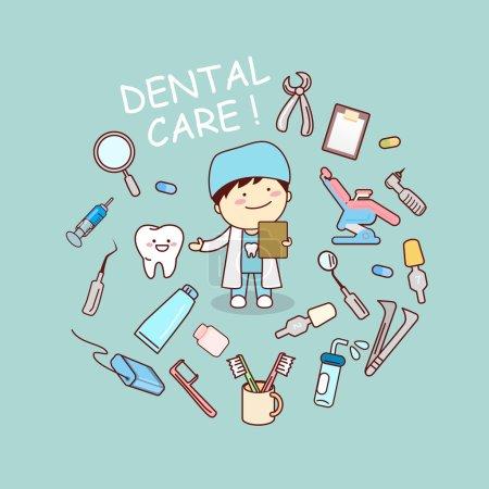 Illustration pour Médecin dentiste dessin animé mignon avec des outils de dentiste, idéal pour le concept de soins dentaires de santé - image libre de droit