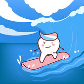 Kreslený zuby surfování