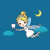 Cartoon  tooth with tooth fairy