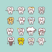 Senior tooth with various expresstion