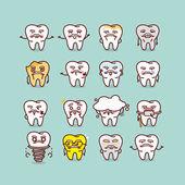 Vysocí zub s různými expresstion