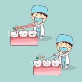 Zubaři použití nit čištění zubů