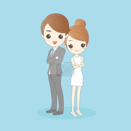 Illustration pour Homme d'affaires et femme croisent les bras et vous sourient - image libre de droit