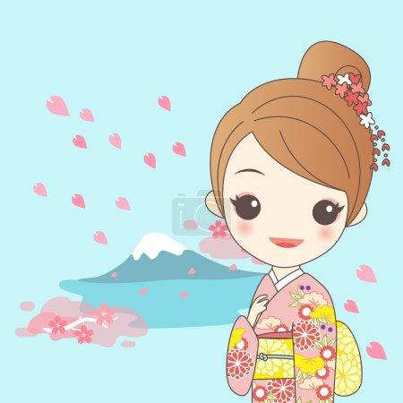 japanese girl with fujisan