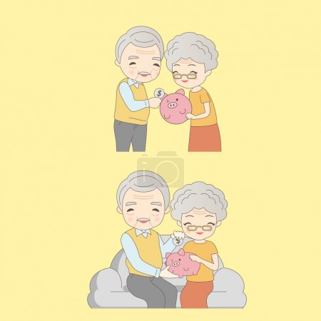 old couple with pink piggy