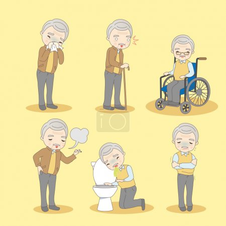 Illustration for Cartoon old man has different problem , great for your design - Royalty Free Image