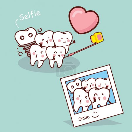 Happy cartoon tooth take selfie