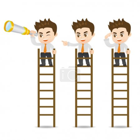 Illustration for Cartoon set of Businessman look on the ladder isolated on white background - Royalty Free Image