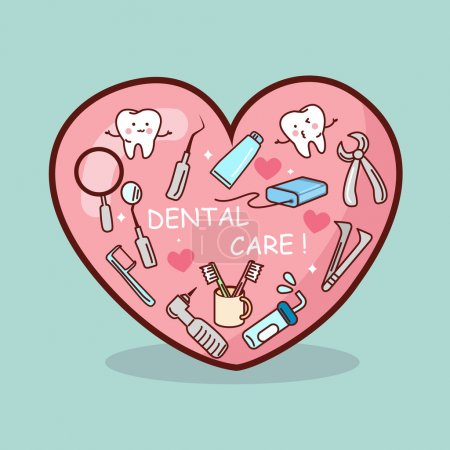 Illustration for Cartoon dental tool and teeth set, great for your design - Royalty Free Image