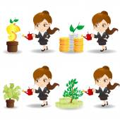cartoon businesswoman with money tree