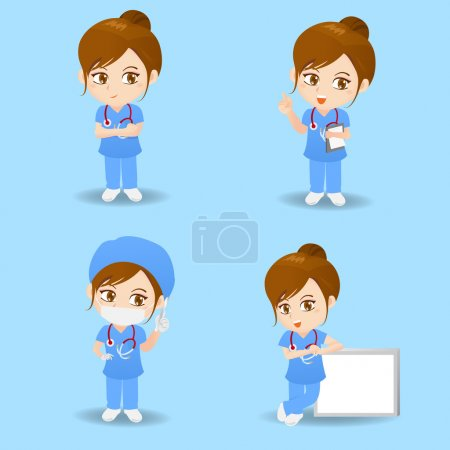 Illustration for Cartoon set of doctor surgeon woman in different poses. - Royalty Free Image