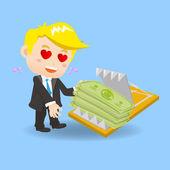 cartoon Businessman fall into finance trap