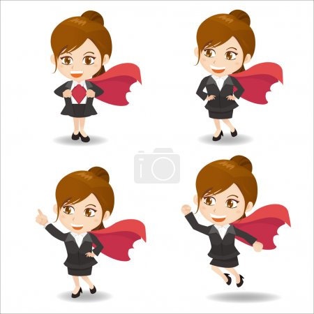 Business woman act as superwoman