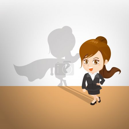 cartoon illustration businesswoman act superhero