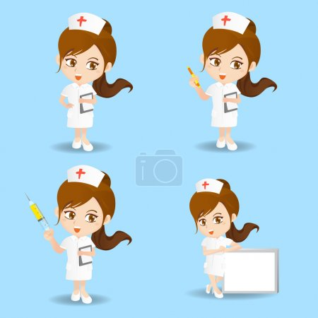 Illustration for Cartoon set of nurse woman in different poses. - Royalty Free Image