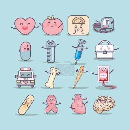 Illustration pour Ensemble d'icônes de soins de santé, idéal pour votre conception - image libre de droit