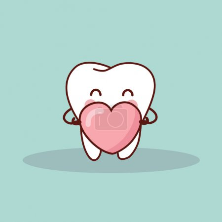 cute cartoon tooth with love