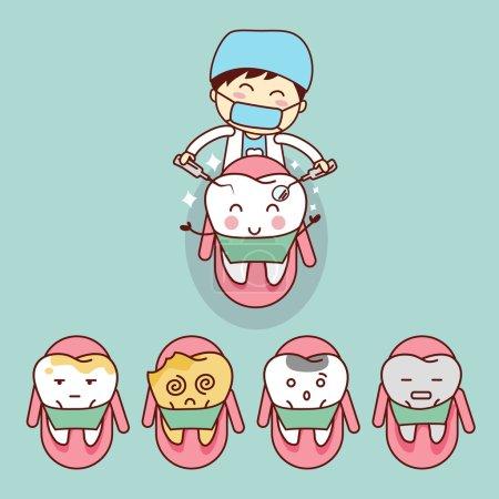 cute cartoon dentist with tooth