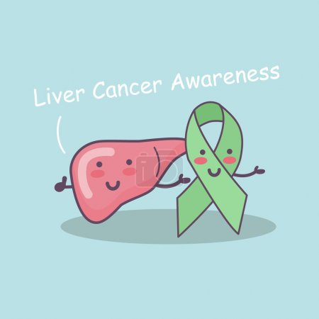 Illustration for Green ribbon and liver outline for liver cancer campaign, great for liver cancer awareness health care concept - Royalty Free Image