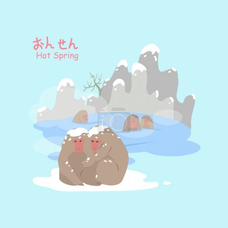 Monkey with hot Spring in the winter - hot Spring ...