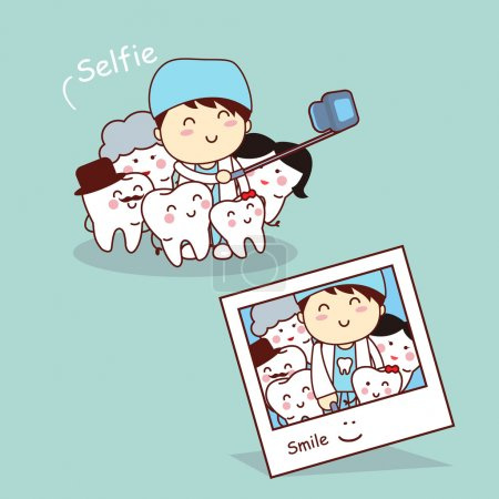 Happy cartoon tooth family selfie
