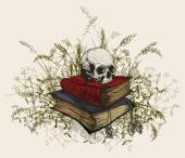 Skull in the occult books surrounded by a grass