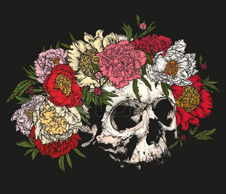 Skull wearing a wreath of peonies.