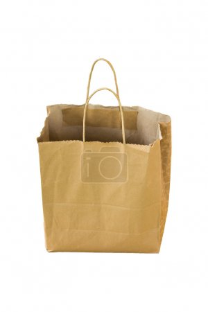 Recycle shopping paper sack on white background