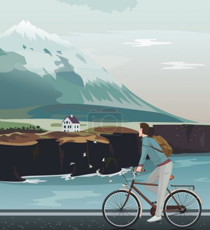 Landscape with a high mountain, cute house and north sea. Man on bicycle riding road.