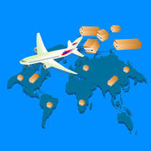 Global Logistic network Logistics concept Logistics Vector Logistics transportation Logistics isometric Logistics 3d Logistic background Plane flies with boxes Vector illustration