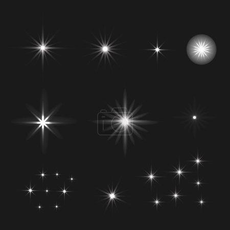 Illustration pour Ensemble d'étoiles à effet lumineux vectoriel éclate avec des étincelles sur fond noir. Fond des étoiles . - image libre de droit