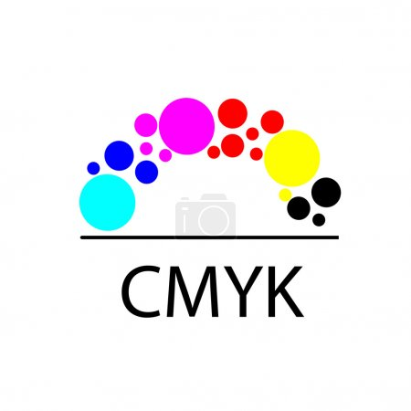 CMYK drawing logo concept. CMYK identity for print service business. Printing technology emblem. Polygraphic colors. Print service logo. Cmyk logo.  Vector
