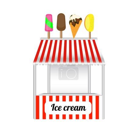 Ice cream cart sweet frozen food kioskca. Ice cream art delicious trolley and ice cream cool cart summer shop of sweet cold food cartoon. Vector illustration