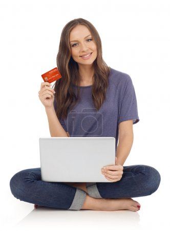 Woman showing credit card