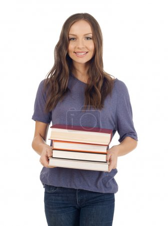 Student gril with books stack