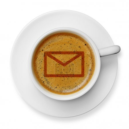 Mail icon on coffee